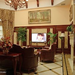 别墅室内挑空暖色调客厅沙发不靠墙效果图