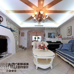 地中海风格家装三居室客厅设计整体空间效果图
