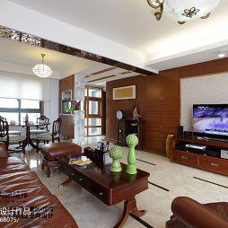 中式风格家装实木背景墙客厅效果图