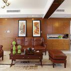 简中式客厅真皮实木摆放实木挂画背景墙效果图