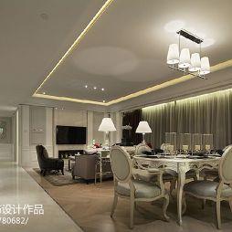 简约欧式餐厅客厅天花吊顶装修效果图