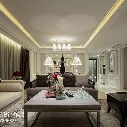 简欧样板房客厅吊顶灯池设计效果图