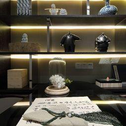 新中式风格样板房书房展示柜装修效果图