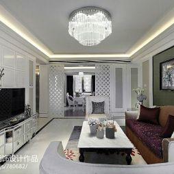 简约欧式客厅吊顶水晶灯装修效果图