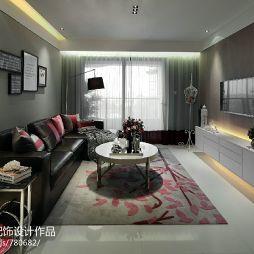 现代风格样板房家装客厅真皮沙发设计图片