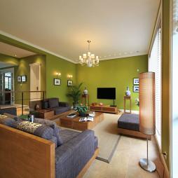 混搭风格别墅室内客厅影视墙设计图片