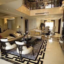 乐清天豪公寓家装欧式楼中楼客厅连餐厅地板砖设计图片
