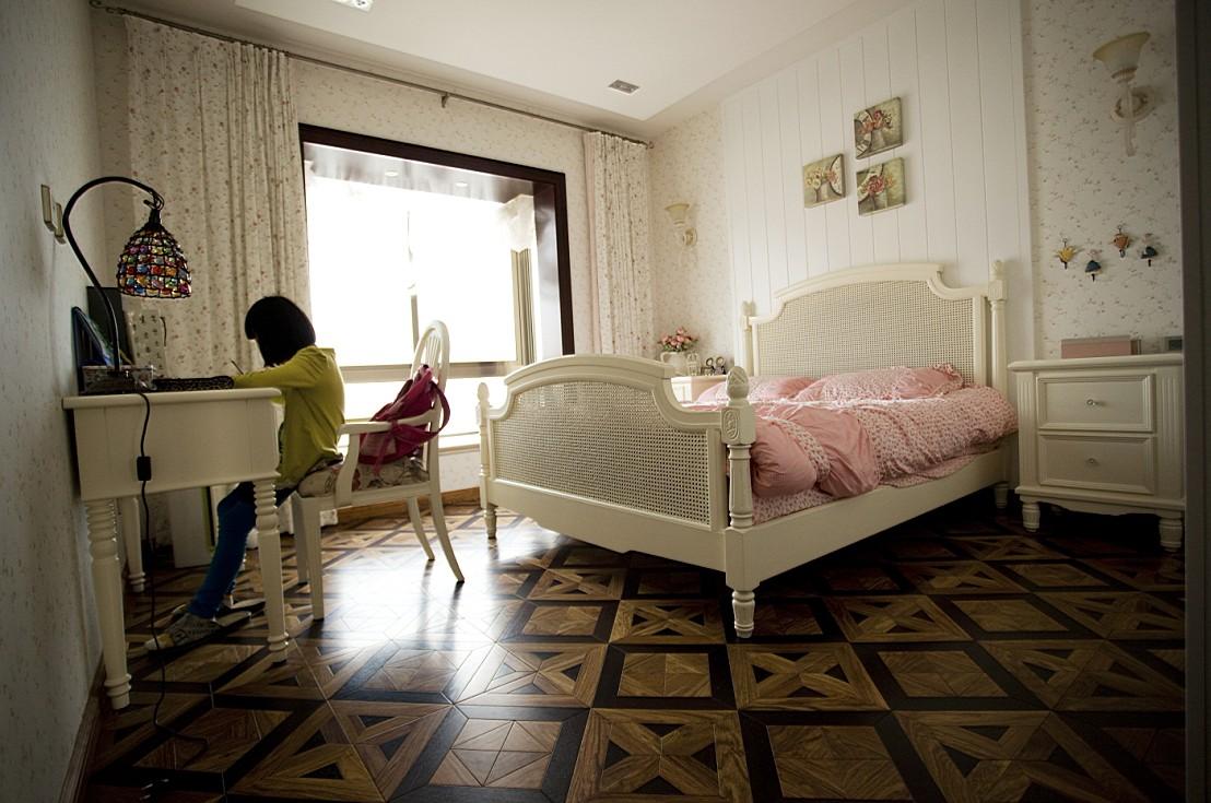 现代简约电视墙墙纸_乐清天豪公寓现代卧室公主房装修效果图 – 设计本装修效果图
