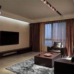 中式风格简易暗客厅电视背景墙效果图