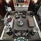 英式客厅设计风格俯瞰效果图