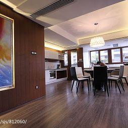温州华府天地简约现代餐厅不吊顶手绘挂画背景墙装修效果图