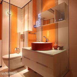 时尚风格卫生间玻璃隔断墙效果图