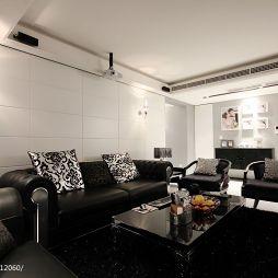 后现代家装客厅过道储物柜及相框背景墙设计图片