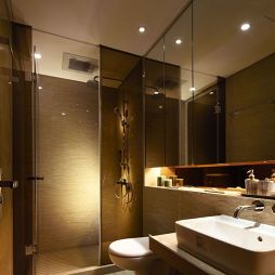 样板房卫生间玻璃隔断墙效果图