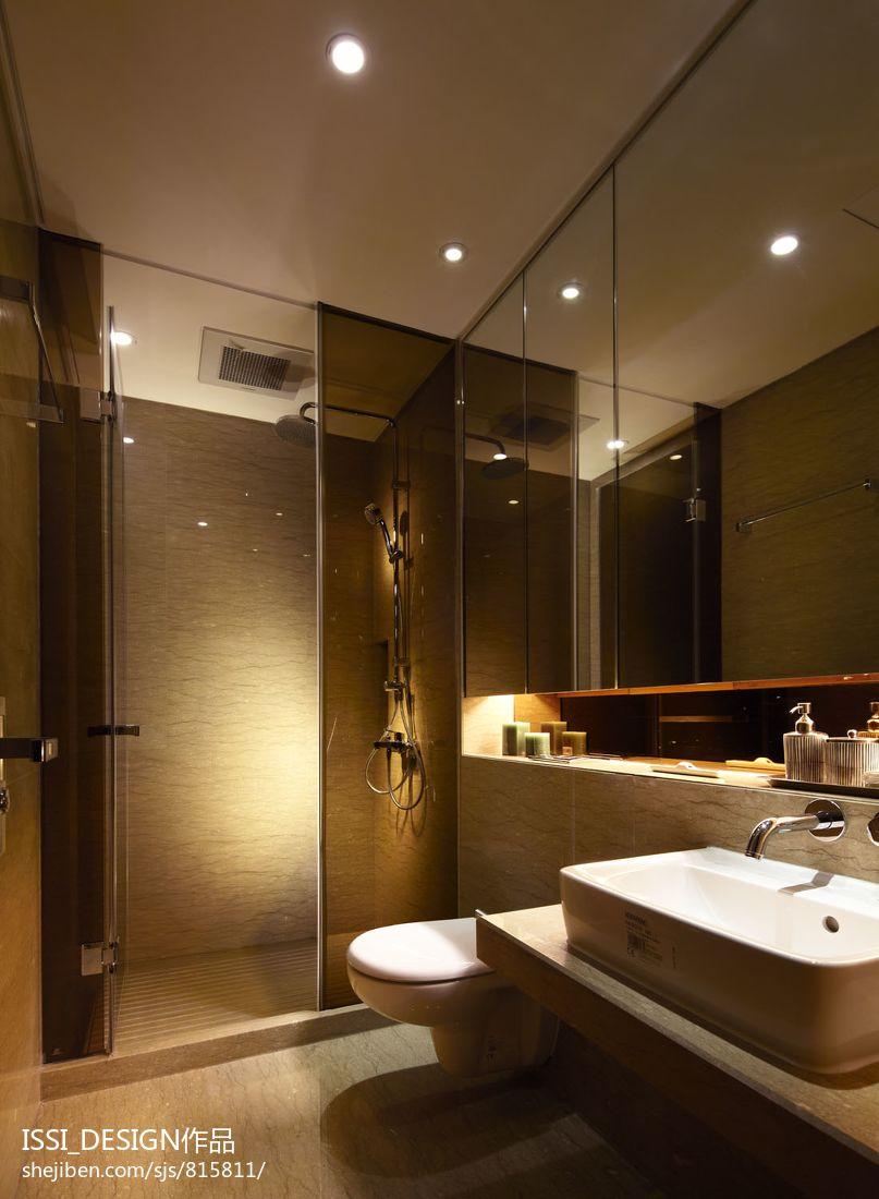 现代简约电视墙墙纸_样板房卫生间玻璃隔断墙效果图 – 设计本装修效果图