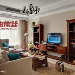 美式乡村家装客厅电视柜效果图