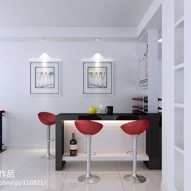 现代白色调客厅吧台装修效果图