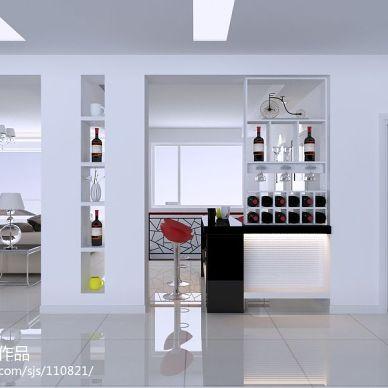 现代风客厅酒柜吧台装修效果图