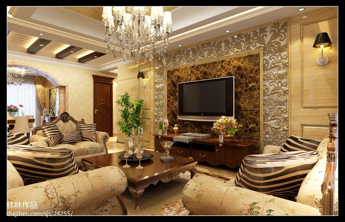 家装客厅电视背景墙_欧式家庭客厅电视背景墙 – 设计本装修效果图