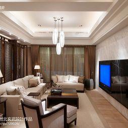 简装欧式客厅屏风隔断沙发背景墙石膏线板吊顶设计图片