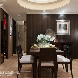 简约样板房新中式餐厅背景墙圆吊顶装修效果图