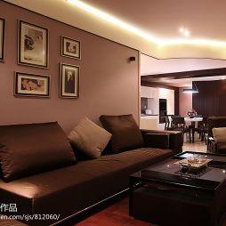 120平米婚房暗色客厅简装沙发照片背景墙效果图
