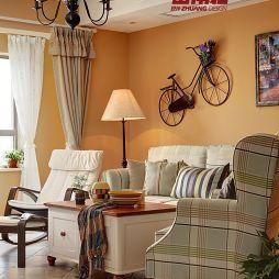 田园风小户型客厅吊灯窗帘设计效果图