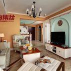 二居室田园风格客厅无吊顶垭口电视背景墙与沙发摆放