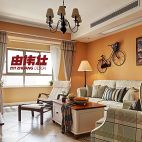 田园风格混搭客厅和阳台打通设计效果图