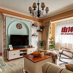 美式田园风格客厅隐形门电视背景墙效果图