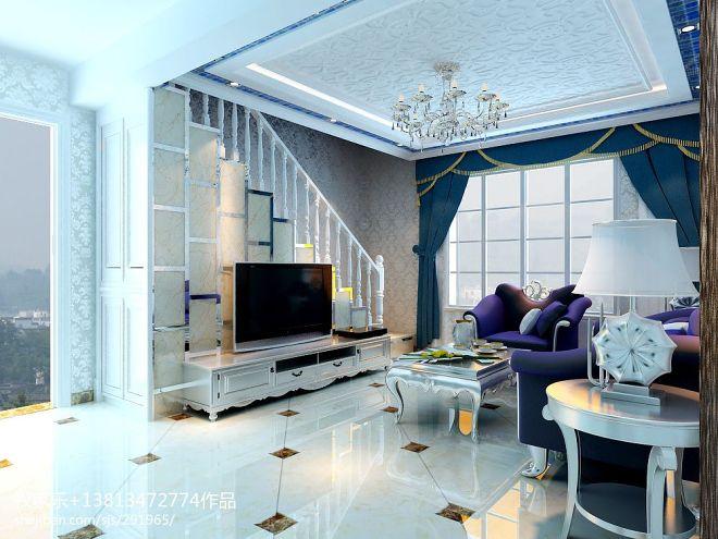 绿地商务城欧式小客厅楼梯电视背景墙装
