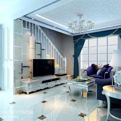 绿地商务城欧式小客厅楼梯电视背景墙装修效果图