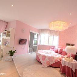玉山别墅欧式卧室粉色观影壁纸设计装修效果图
