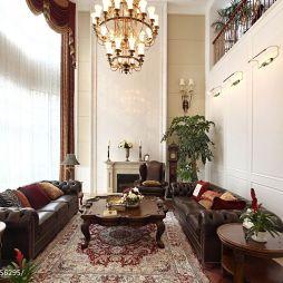 欧式镂空复式楼客厅沙发窗帘纱帘背景墙效果图