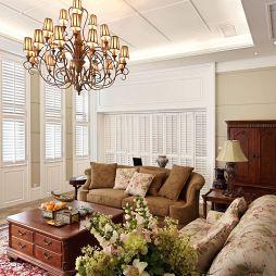 简欧别墅客厅白色百叶窗效果图