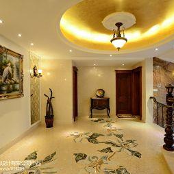 欧式别墅过道玄关圆形吊顶地面拼花设计