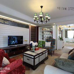 美式电视背景墙吊灯客厅室内酒柜设计图