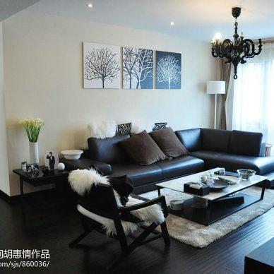 现代简约装修经典黑白配客厅效果图