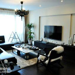 80后家装客厅不吊顶最简单电视墙并和阳台打通设计图