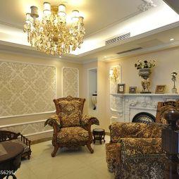 复地东湖国际欧式客厅吊灯壁炉设计效果图