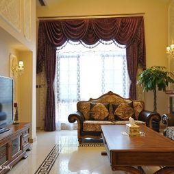 别墅欧式室内客厅窗帘设计效果图