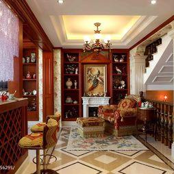 美式别墅客厅室内靠墙酒柜跃层设计图