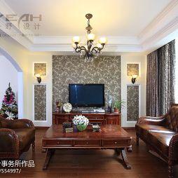 别墅家装室内客厅欧式客厅石膏线吊顶灯装修效果图
