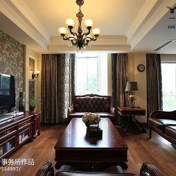金龙花园欧式风格二级吊顶壁纸贴电视墙客厅设计效果图