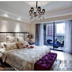 时尚新古典三室一厅软包床头墙室内阳台卧室设计