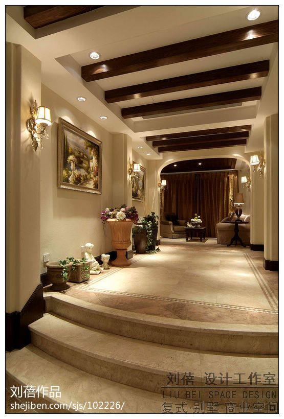 简欧风格卧室_美式门厅过道天花吊顶设计装修效果图 – 设计本装修效果图