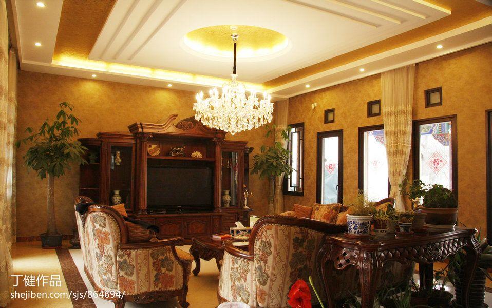 三级吊顶_中式别墅客厅三级吊顶灯设计图–设计本装修效果图