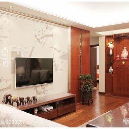 中式客厅影视墙壁画效果图片