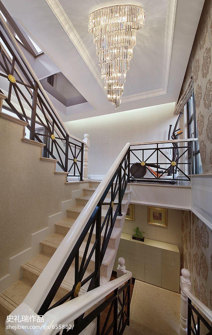 龙岗区_欧式奢华别墅楼梯扶手装修效果图 – 设计本装修效果图