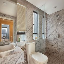 欧式卫生间玻璃隔断墙效果图